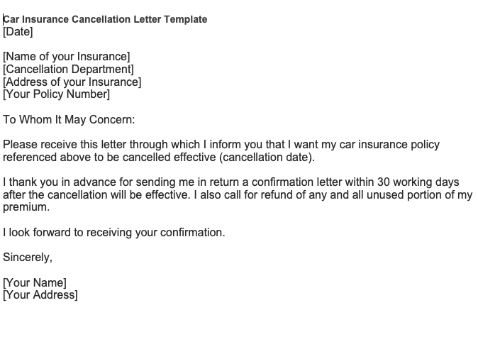 A car insurance cancellation letter template   Download ...