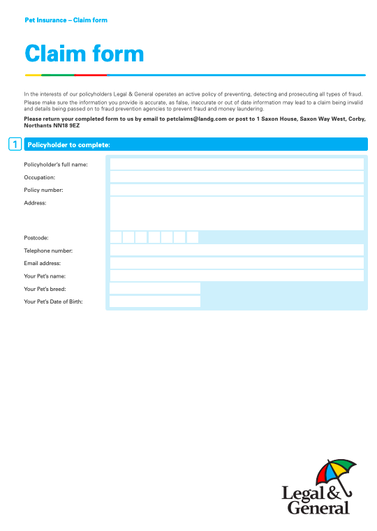 legal general claim form