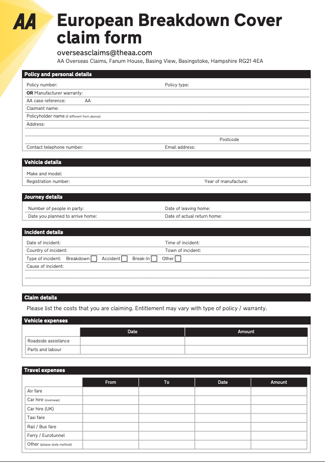 aa european breakdown cover claim form